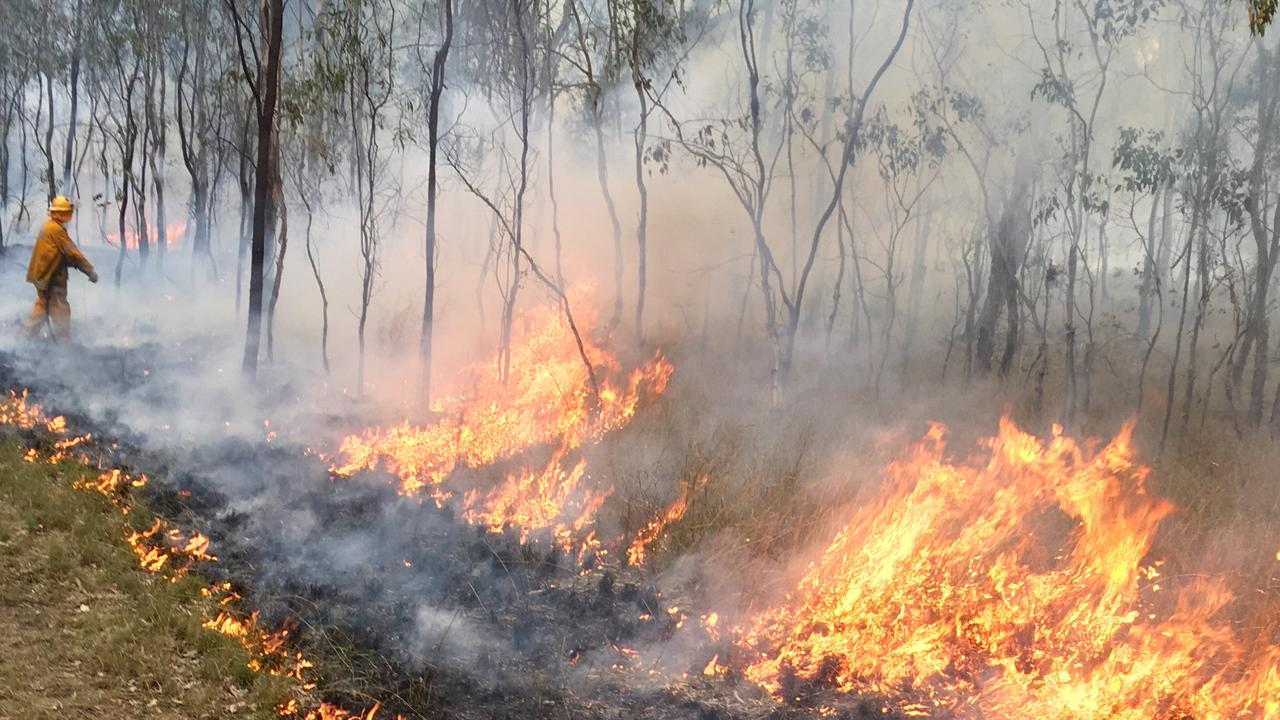 Rural Fire Brigade officers completing a hazard reduction burn south of Warwick. Picture: Queensland Fire and Rescue Service