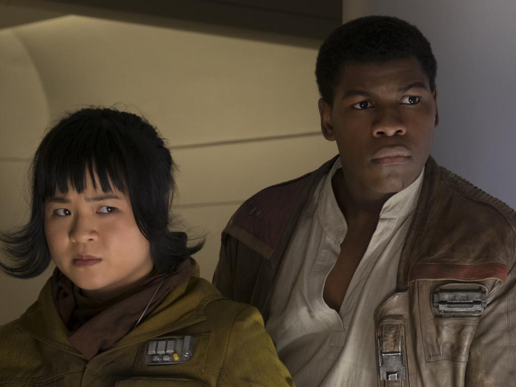 Rose (Kelly Marie Tran) and Finn (John Boyega) in The Last Jedi. Picture: David James/Lucasfilm
