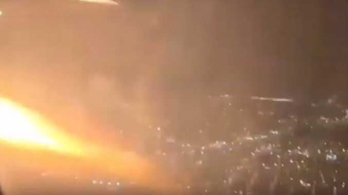 WATCH: Enormous flames shoot out from plane