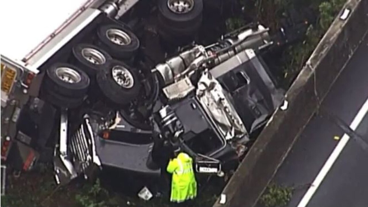 The aftermath of the truck crash on the Gateway Motorway. Picture: 7 News Queensland