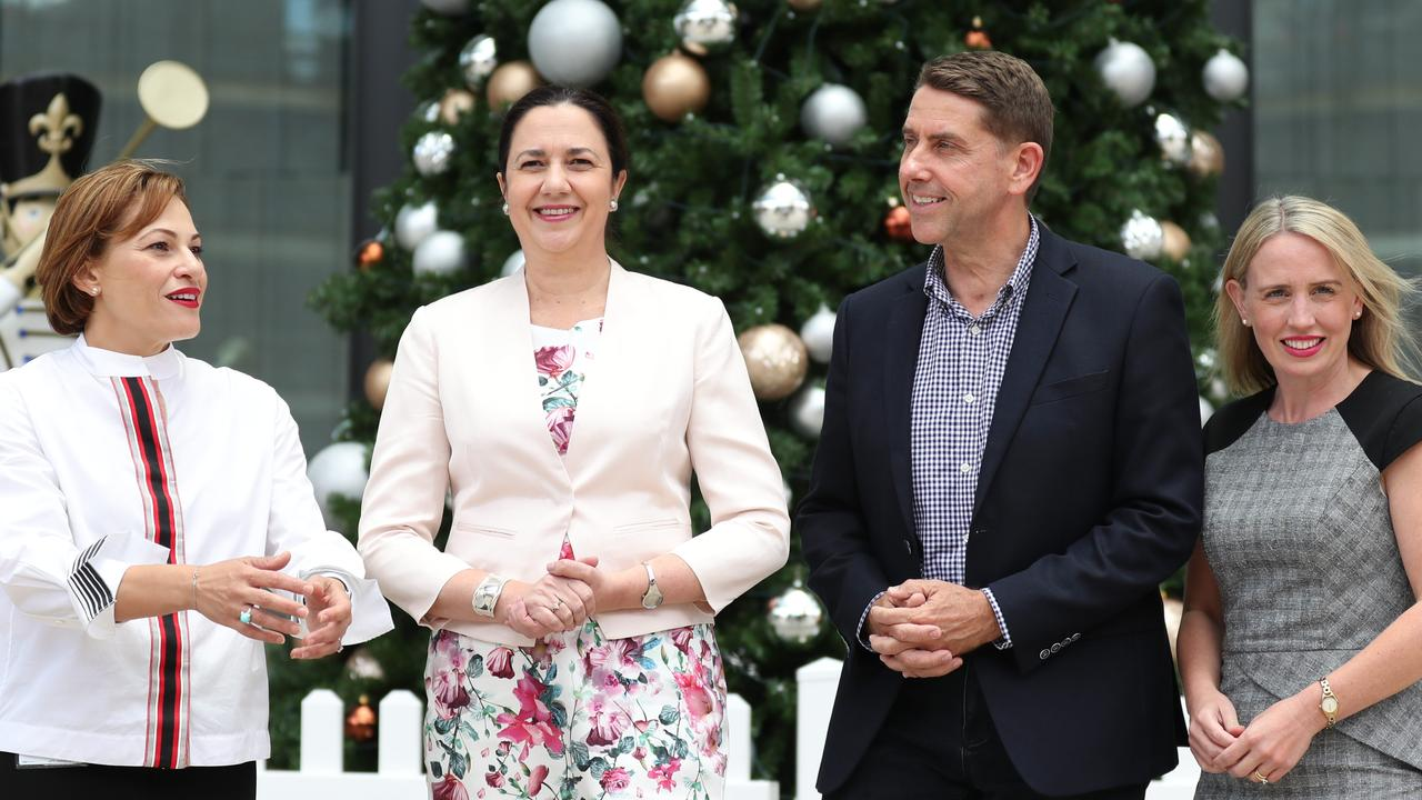 Premier Annastacia Palaszczuk pictured with her key economic ministers (from left) Treasurer Jackie Trad, State Development Minister Cameron Dick and Innovation Minister Kate Jones. Pic: Annette Dew