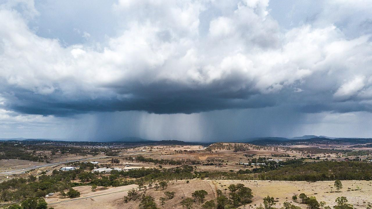 Tony Malferrari caught the moment a storm rolled over Mt Kynoch yesterday.