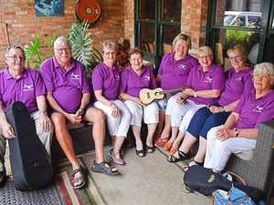 Members of the Graniteers, fresh from performing.