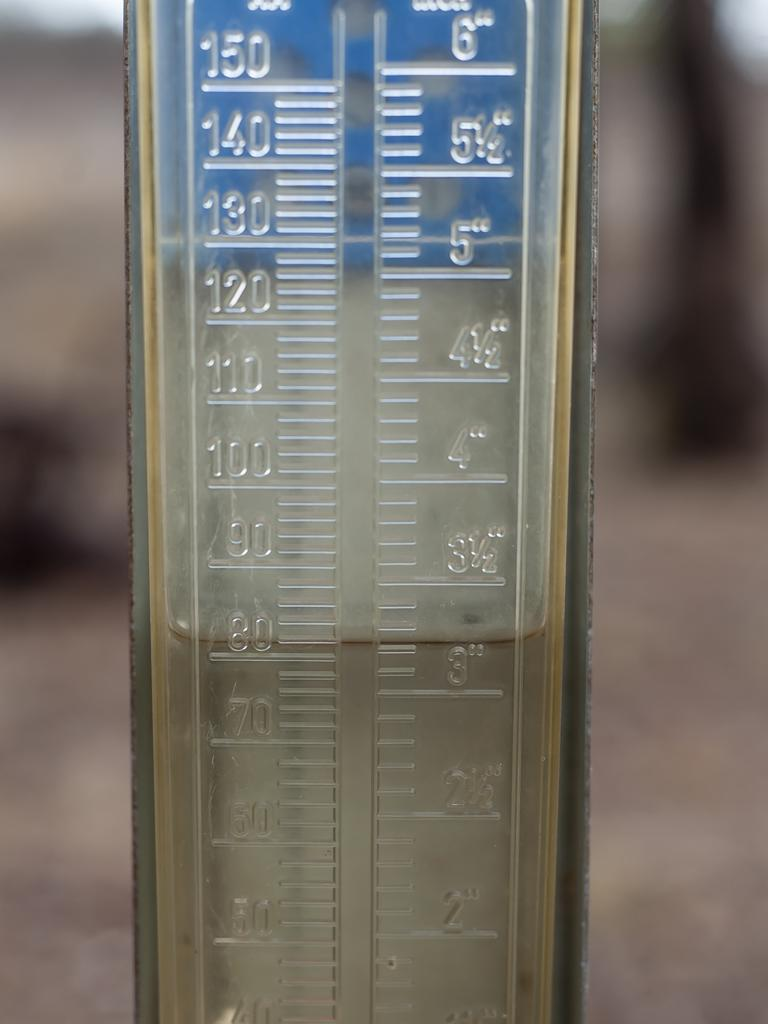 A rain gauge from a Felton farm, near Toowoomba, show falls of around 80mm on Friday. Picture: David Martinelli