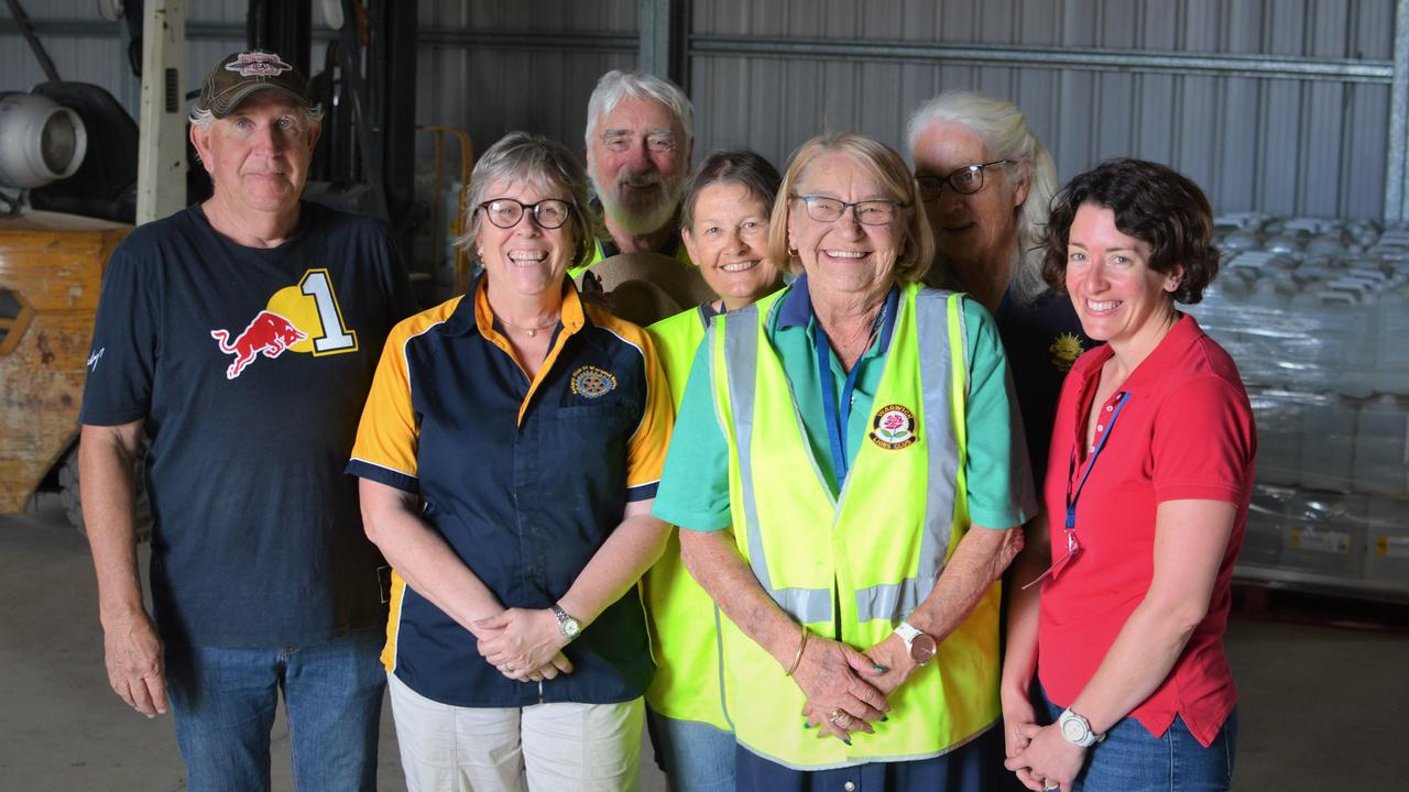 Southern Downs Community Relief Group Merv McKenny, Sally Edwards, Don Hughes, Janet Schultz, Ros Keim, Margaret Bennett and Diana Carpenter.