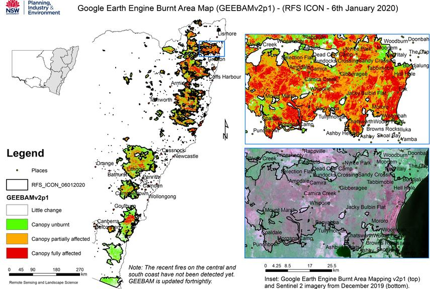 """The Google Earth Engine Burnt Area Map reveals """"pockets of green"""" within firegrounds where wildlife may have taken refuge."""