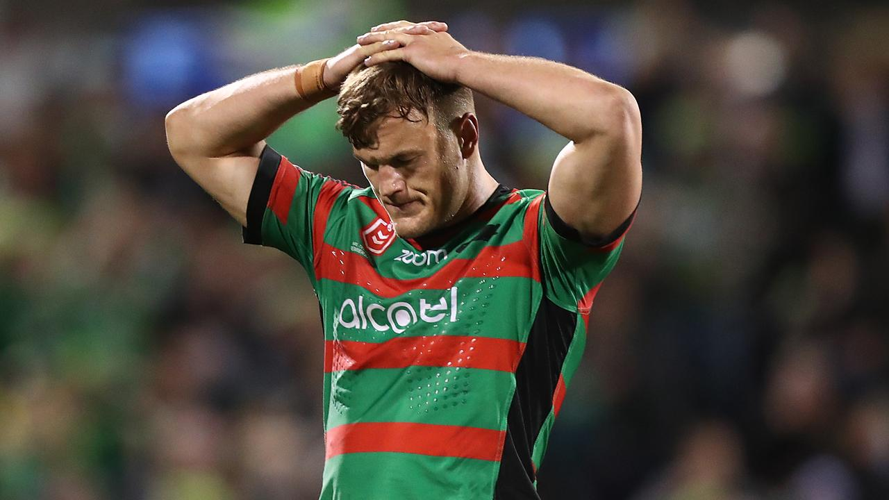 Liam Knight and the Rabbitohs are facing a leadership void. Picture: Getty Images