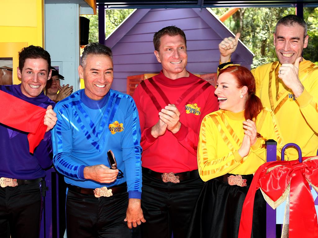 Yellow Wiggles Greg Page (right) collapsed from a cardiac arrest onstage, shocking audience members. Picture: Supplied