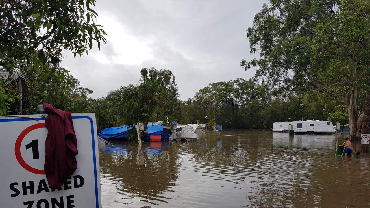 Holidaymakers were trapped at Big 4 Gold Coast Holiday Park at Helensvale after a huge deluge of rain led to flash flooding. Picture: Colleen McArthur