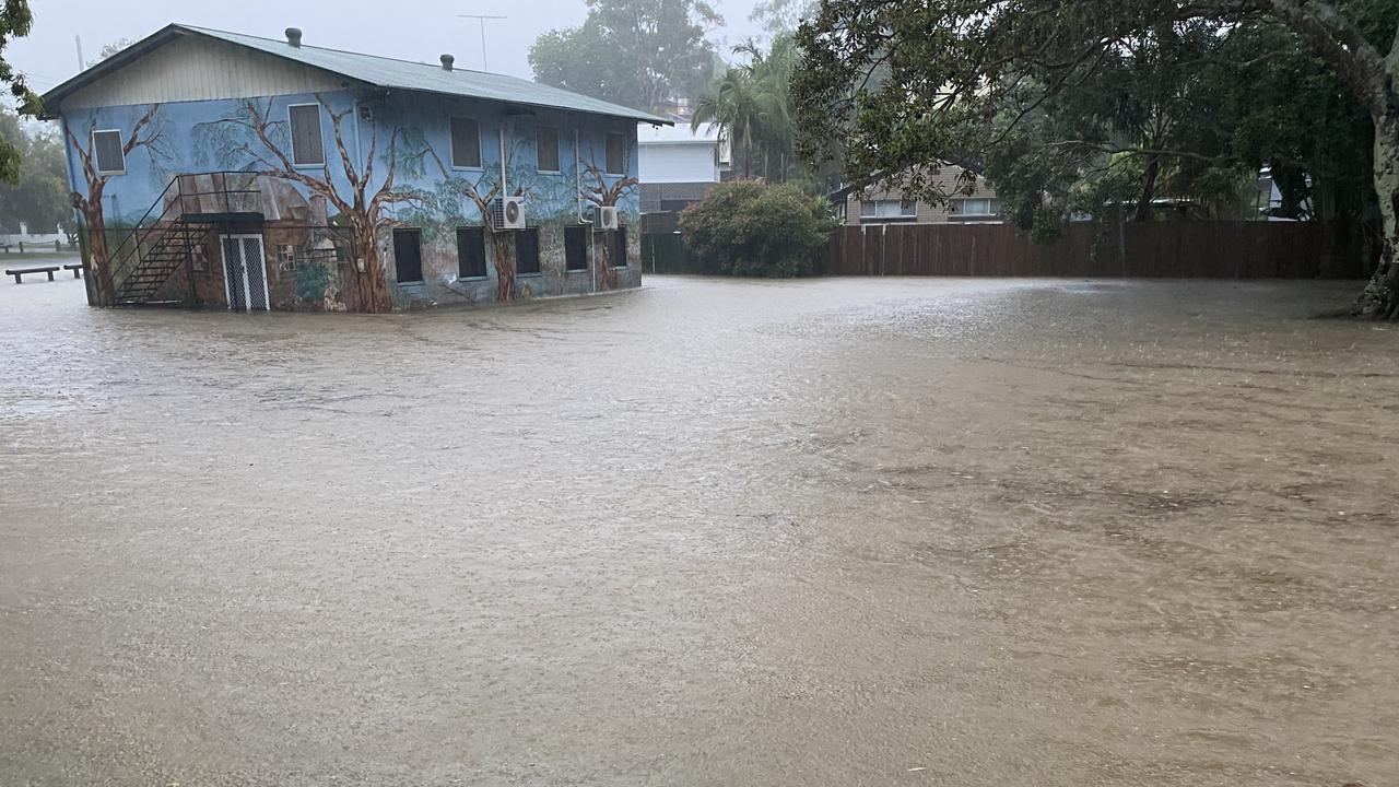 Flooding at the Gold Coast suburb of Southport, where heavy rain fell overnight.