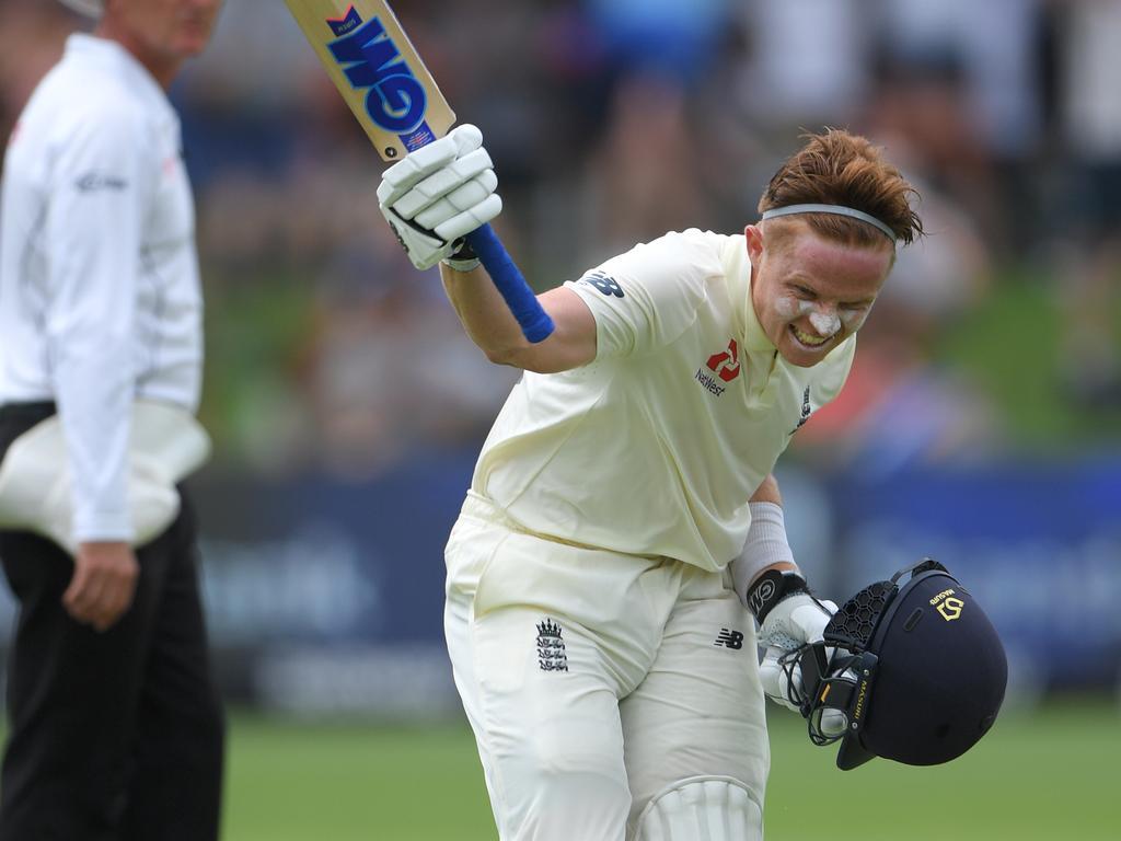 Ollie Pope  celebrates his maiden Test century.