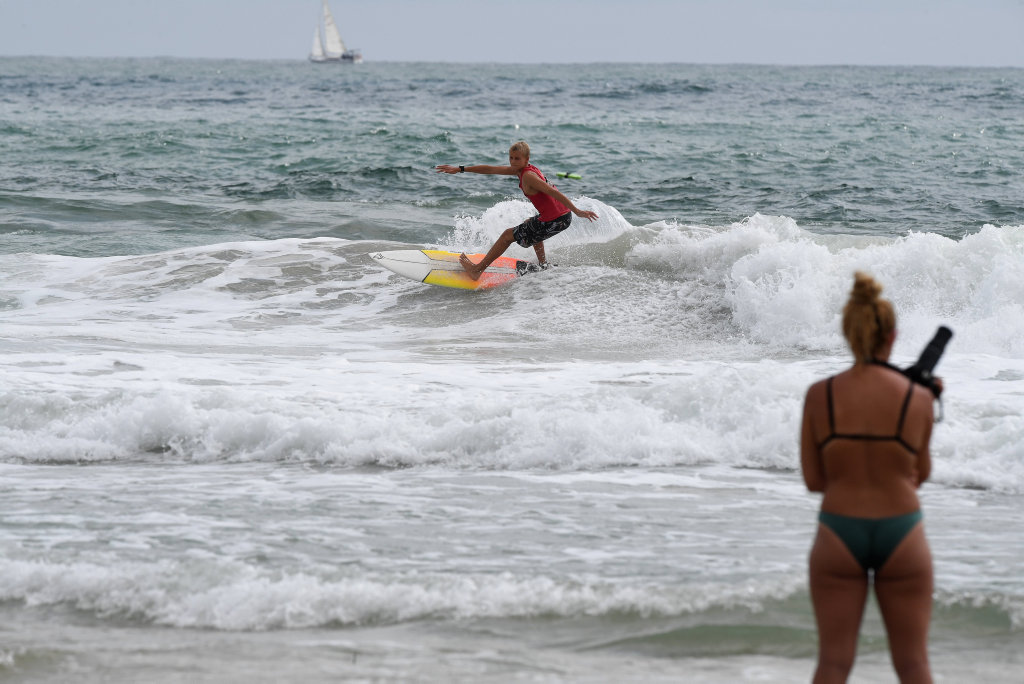 Image for sale: More than 150 lifesavers from across the states south east hit the waves and hang ten at Alexandra Headland for the 2020 Queensland Board Riding Championships. Jasper Alford from Byron Bay SLSC.
