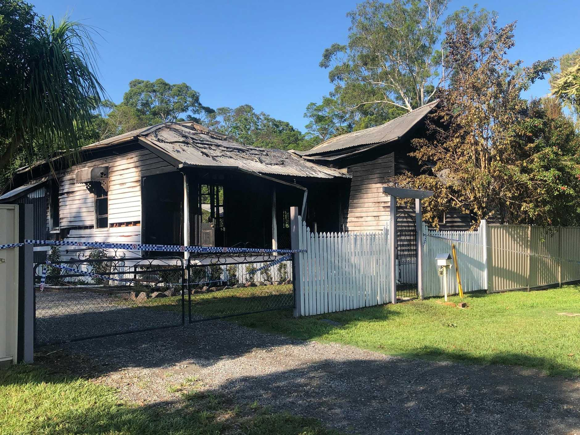 A home was destroyed by flames overnight at Landsborough.