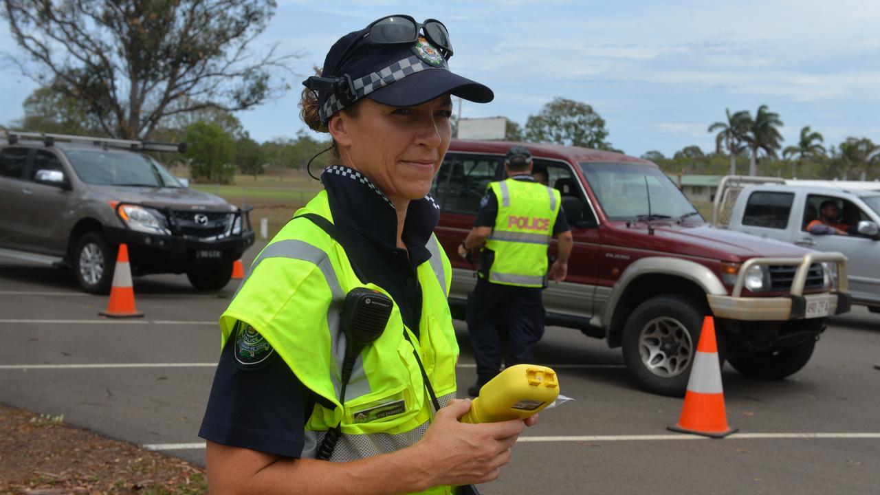 Senior Constable Annette Pfingst tests motorists during a police operation in Bundaberg. Picture: Chris Burns.