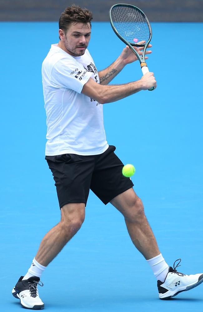 Stan Wawrinka practices ahead of the 2020 Australian Open at Melbourne Par. Picture: Mike Owen/Getty Images