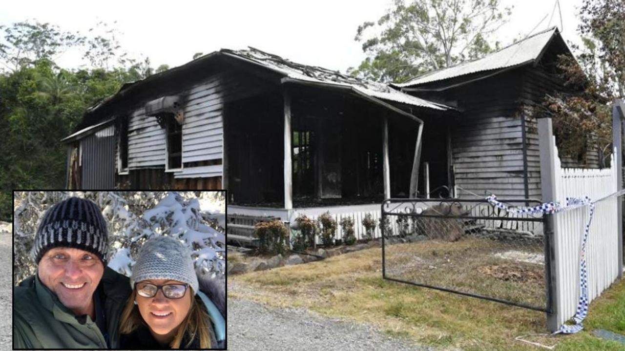 Shane Herbert and Rachelle Headley (inset) returned home from dinner on Saturday night to find their Landsborough home on fire.