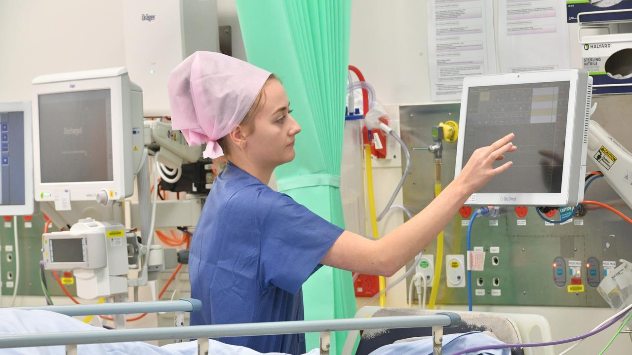 A Gladstone hospital nurse uses the new surgery monitors.