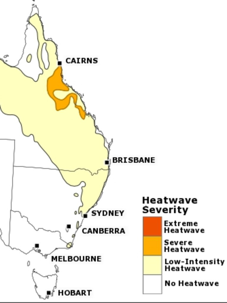MONDAY, TUESDAY AND WEDNESDAY: Conditions ease for northeast QLD but broad low intensity heatwave conditions are forecast from the Gulf of Carpentaria to northeast NSW. Low intensity heatwave conditions still persist for northwest WA. PICTURE: BUREAU OF METEOROLOGY