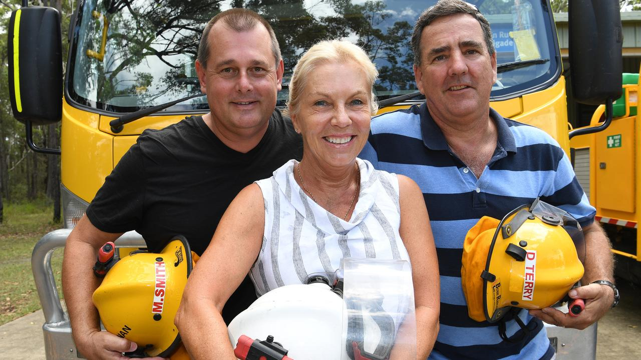 THANK YOU: Mark Smith, Mette Davis and Damian Terry at the free feast for fire fighters.