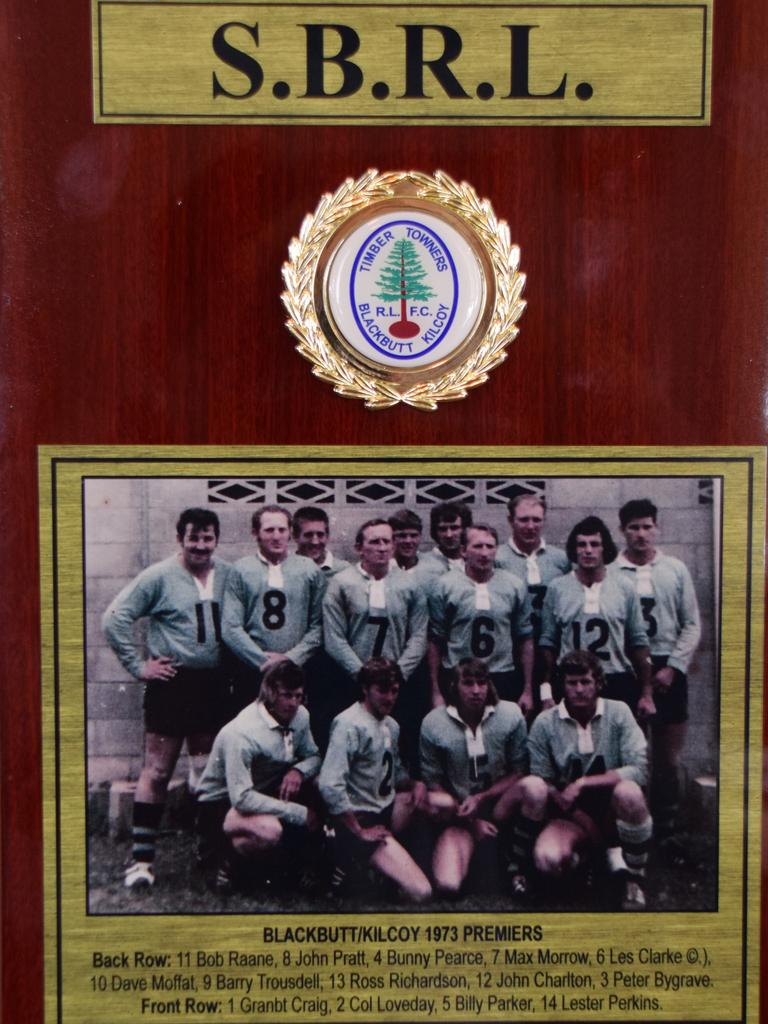 STRONG SIDE: The 1973 grand final plaque that was unveiled at the Radnor Hotel in Blackbutt. (Picture: Tristan Evert)