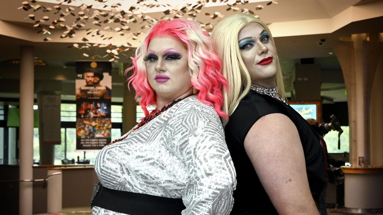 Drag queen hosts Anna Bee (left) and Dylicious Sweetz. Picture: Bev Lacey