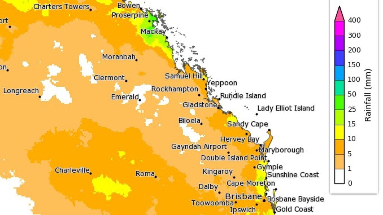 Rainfall totals with a 75 per cent chance of occurring this week. Picture: Bureau of Meteorology