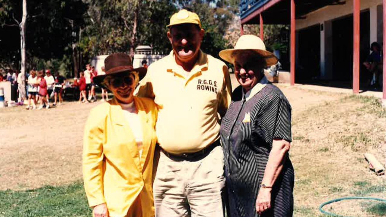 1990 Head of the River Regatta. Rowing Manager Miss Ramm, RGGS Coach Frank Hick and RGGS Principal Mrs Bendall.