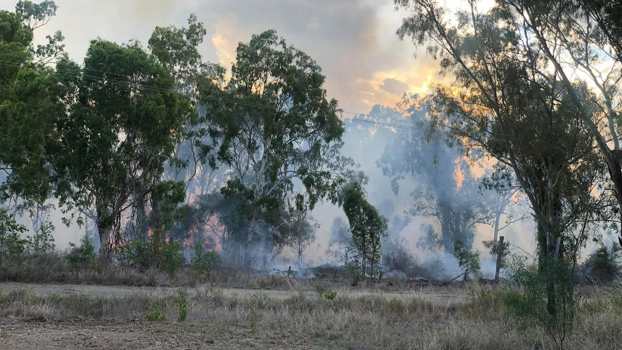 Rural fire crews conducting a controlled burn on Tindall Rd, Gracemere.
