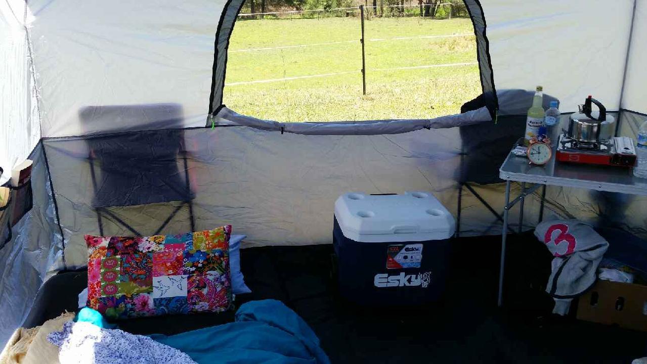 Inside Pauline Taylor's tent.