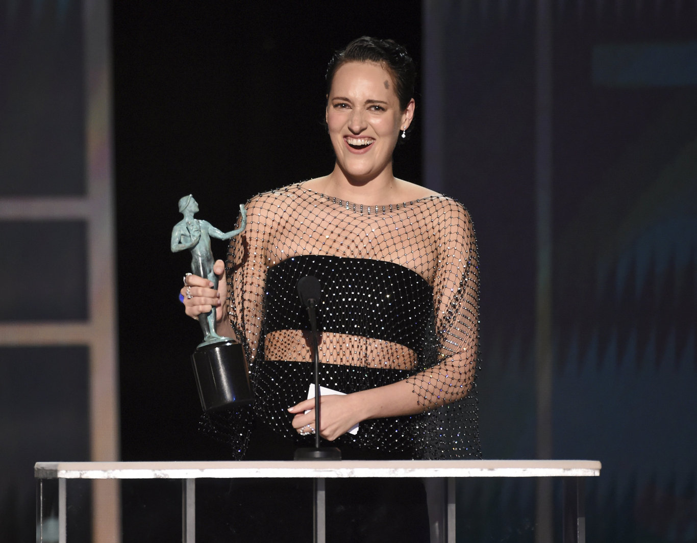 Phoebe Waller-Bridge accepts the award for outstanding performance by a female actor in a comedy series for Fleabag at the 26th annual Screen Actors Guild Awards.