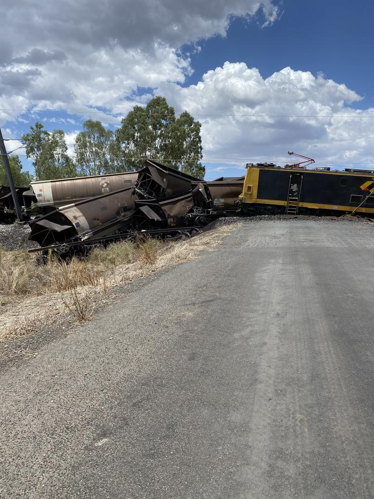 An Aurizon coal train derailed on a level crossing between Dysart and Middlemount about 1pm Sunday. Picture: Julie McLucas