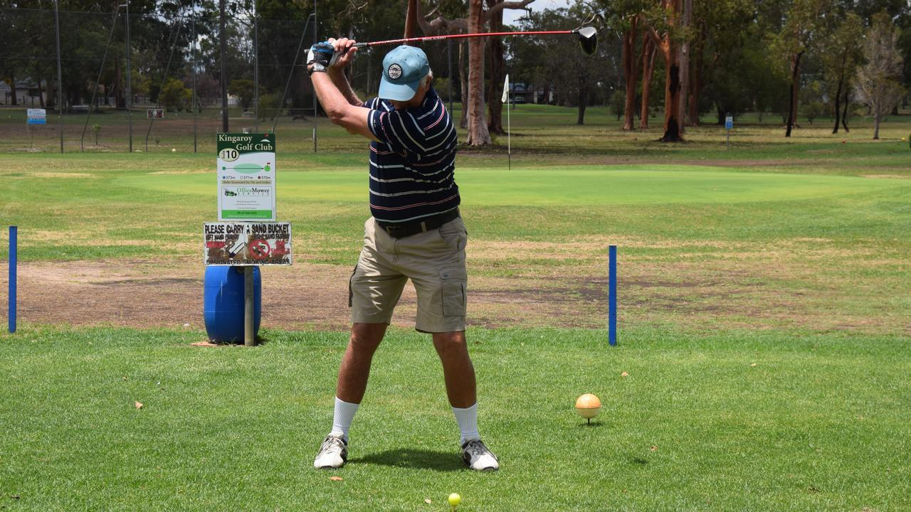 Kingaroy Golf Club life member Col Harch hits the first ball straight down the fairway to mark the opening of the 2020 season. Picture: Tristan Evert