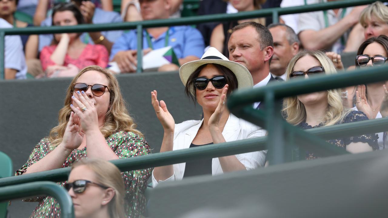 Megan Markle cheers on Serena Williams at Wimbledon last year. Picture: Ella Pellegrini