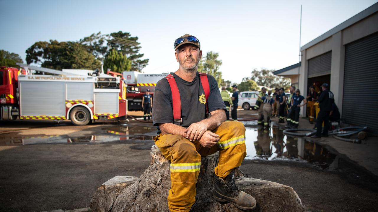 Parndana garlic farmer Shane Leahy lost his home in the January 3 fire. Since his home was lost, he has slept at the CFS station or at mates' houses while continuing to work around the clock fighting fires. Picture: Brad Fleet