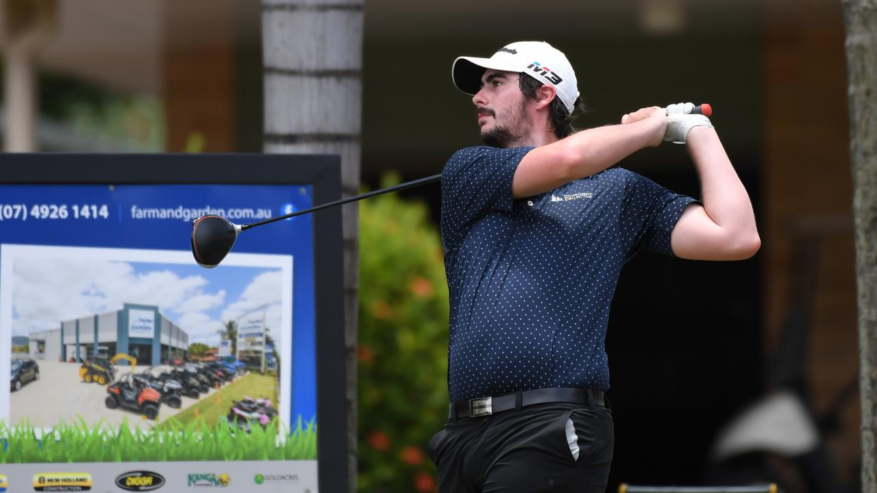 DRIVING FORCE: Rockhampton's Division 1 team captain Tim McMaster tees off against Emu Park yesterday. Pictures: Allan Reinikka
