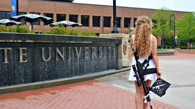 University 'gun girl' goes viral again