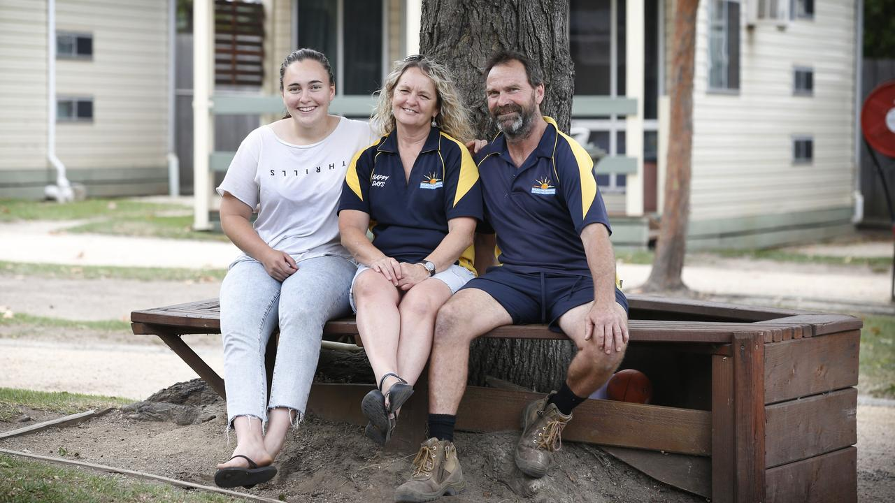 Caravan Park owners Debbie and Paul Preston with their daughter Demi.