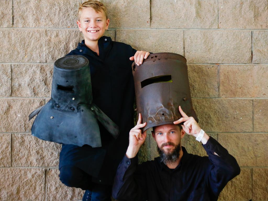 MAGNT Ned Kelly lookalike category winners Cooper Ferme, 12 (best Ned Junior) and Josh Danvers (best helmet). Picture: GLENN CAMPBELL