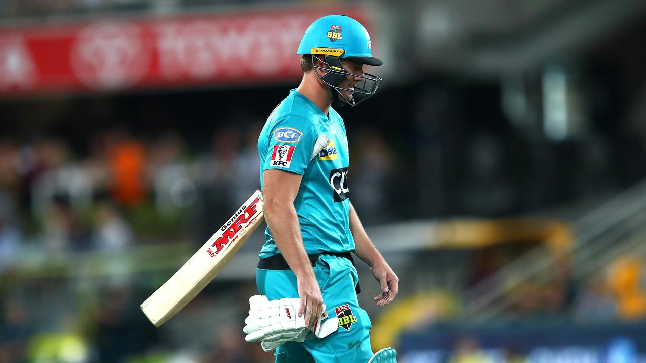 A dejected AB de Villiers walks from the Gabba after being clean-bowled for two against the Renegades on Sunday night. Picture: Jono Searle/Getty Images