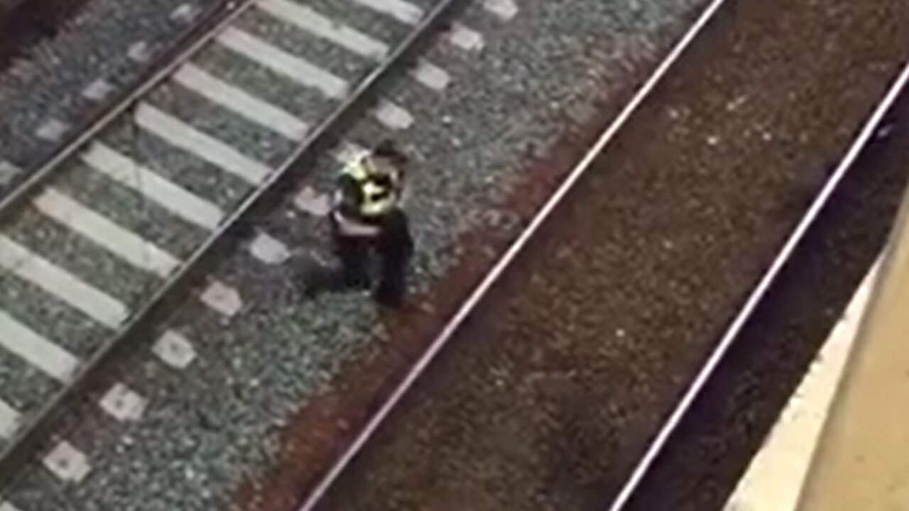 Video shared by 3AW radio shows the moment the cat was collected from the tracks.
