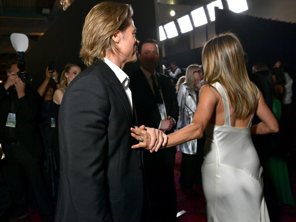 PDA? The friendly exes beamed as they saw each other at The Shrine Auditorium. Picture: Getty Images