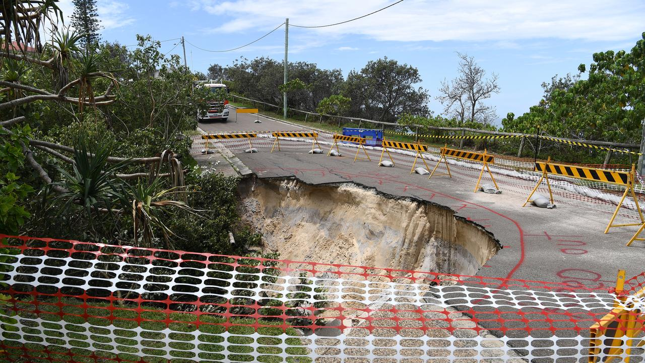 The road collapse due to storm water at Tingira Crescent, Sunrise Beach.
