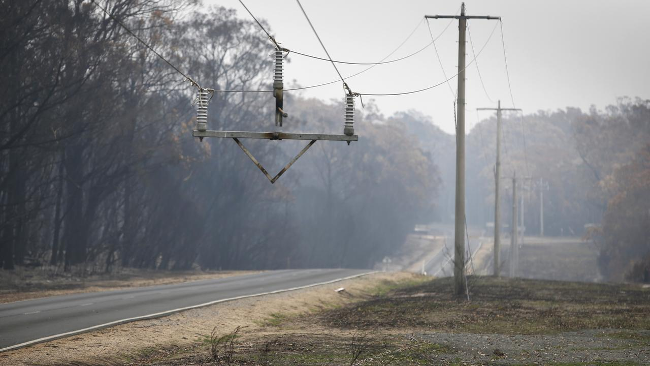 A missing power pole, burnt to ashes on the Genoa-Mallacoota road. Picture: David Caird