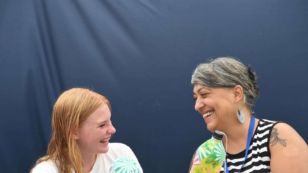 FUN TIMES: Savannah Bailey, 14, of Casino, with art facilitator Joanna Kambourian at Autism Camp Australia's inaugural camp at Lennox Head.