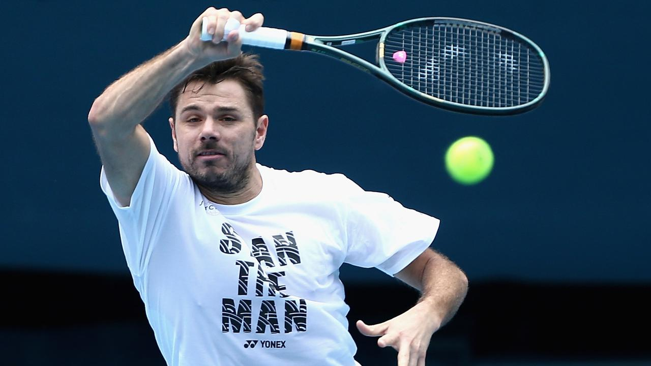 Stan Wawrinka of Switzerland plays a forehand during an Australian Open practice session at Melbourne Park in Melbourne, Friday, January 17, 2020. (AAP Image/Rob Prezioso) NO ARCHIVING, EDITORIAL USE ONLY