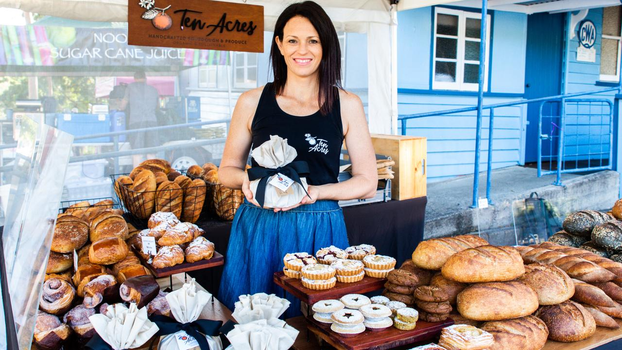 Melody and Jamie Flood's slow, wholesome produce from Ten Acres Farm goes into these Eumundi Markets treats. Picture: Jodie Modrick