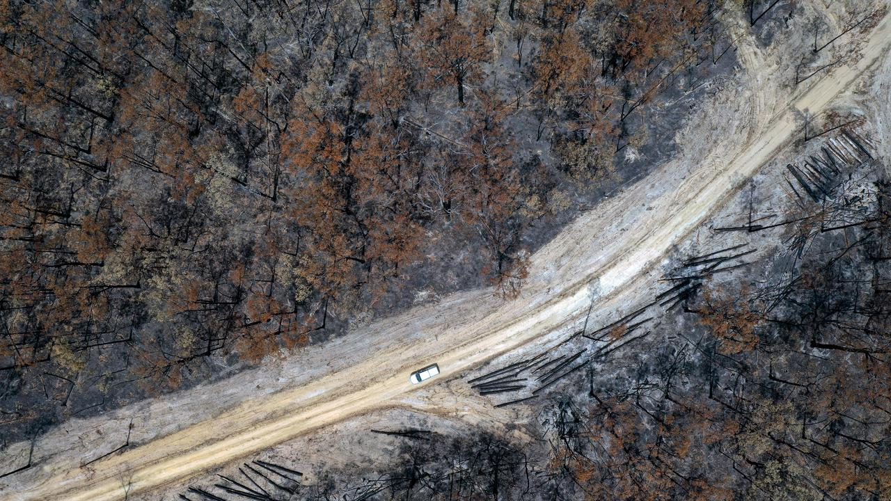 An aerial view of Clifton Creek which was burnt in the bushfires. Picture: Alex Coppel.