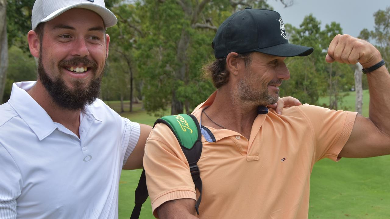 BROS BEFORE HOLES: Josh Maddison with his caddie and good mate Chris 'Woody' Wood.