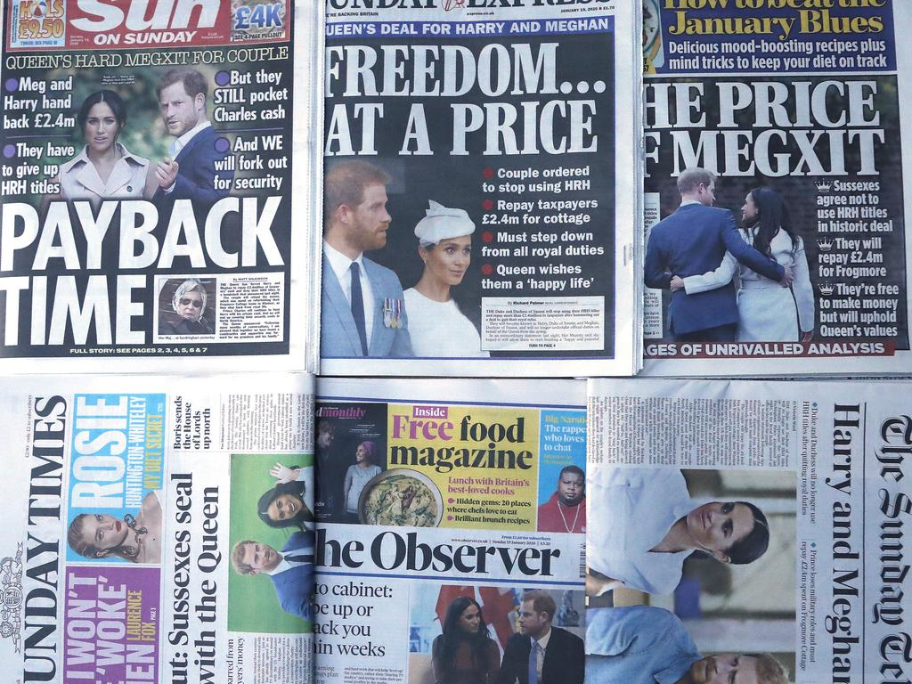 The front pages of London's Sunday newspapers are displayed in London, January 19, 2020. Picture: AP