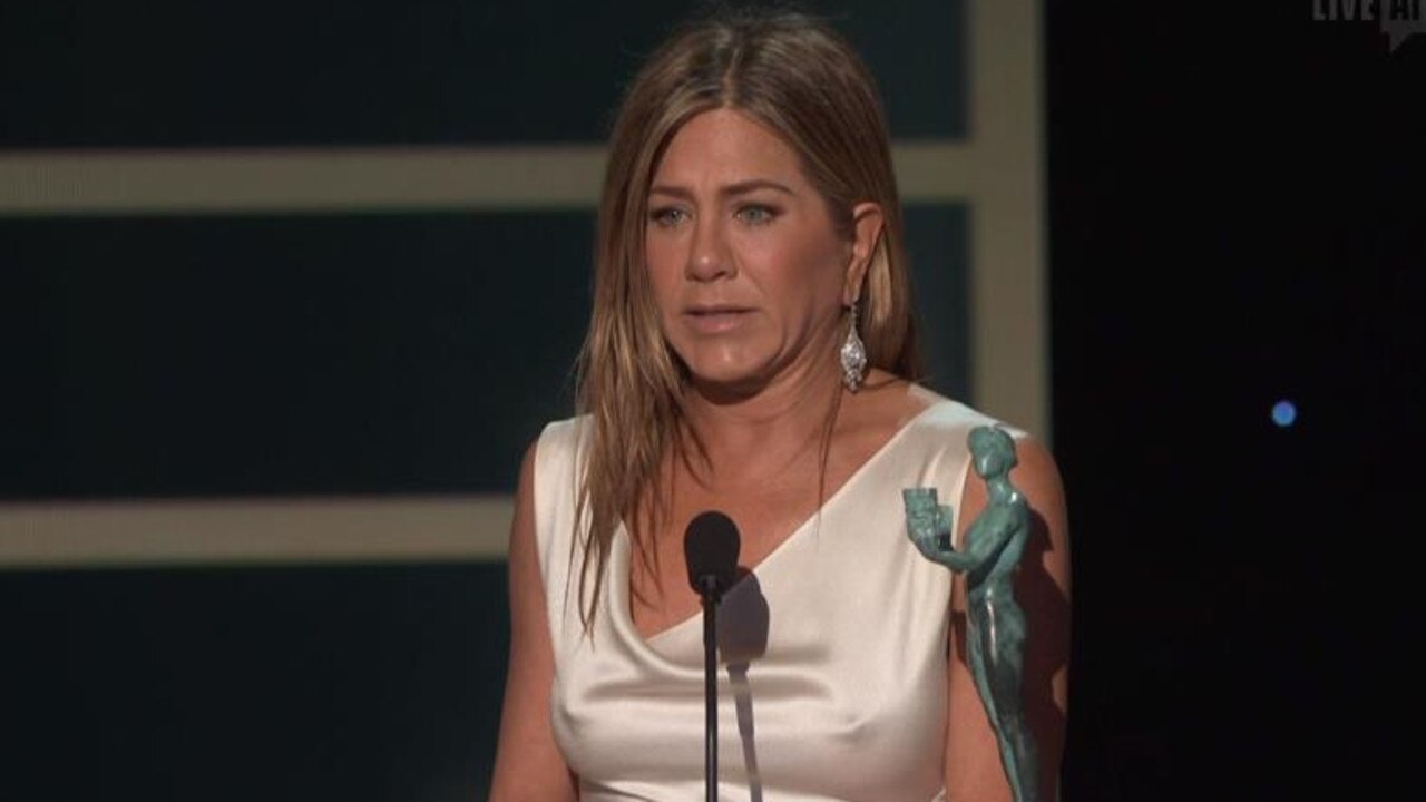 Aniston stunned in a white figure-hugging gown. Picture: Foxtel.
